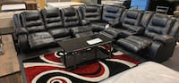 Black or chocolate leather sectional available reclining sectional recliner  Jacksonville, 32246
