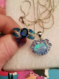 New 925 silver blue opal crown and ringSet. West Valley City, 84120