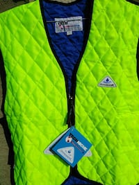 green and blue vest