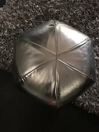 Two silver foot stool poofs new by CB2 Burlington