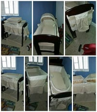 white versatile baby bassinet changing table