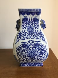 white and blue floral ceramic vase Frederick, 21701