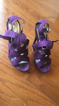 Purple-and-black open toe ankle strap sandals Erie, 16510
