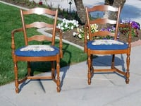 two brown wooden framed blue padded armchairs Modesto, 95356