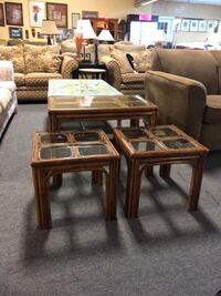 Bamboo three-piece coffee and end table set with glass tops Myrtle Beach, 29588