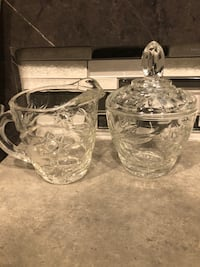 Antique Crystal Sugar and Creamer Set Johnston, 50131