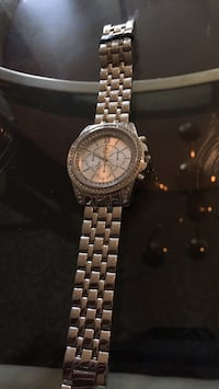 Round silver chronograph watch with link bracelet Ashburn, 20148