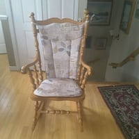 brown wooden framed white padded rocking chair Lévis, G6W 8M8