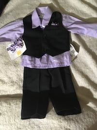 6 month infant boys suit with tie & bow tie comes with all black dress shoes not pictured