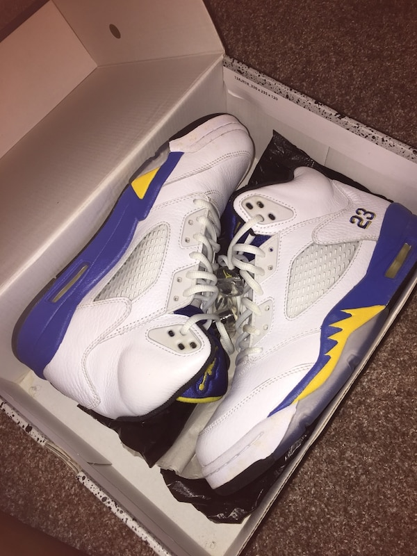 385b69126814f9 Used Blue yellow and white air jordan 5 in box for sale in Grand Prairie -  letgo