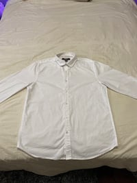 WHITE FOREVER21 MENS BUTTON UP