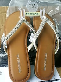 pair of brown-and-white leather sandals Joshua, 76058