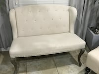 tufted white leather padded sofa Gilbert, 85297