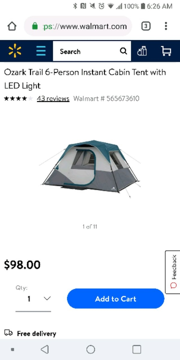 Ozark Trail 6-Person Instant Cabin Tent with LED L