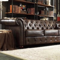 Brown leather 3-seat chesterfield sofa Hollister, 95023