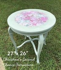 Round white and pink floral wooden side table Youngsville, 27596
