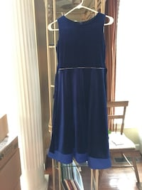 Girls size 14-16 blue velvet sleeveless dress Gainesville, 20155