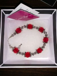 Red and Silver Beaded Bracelet  Burnaby