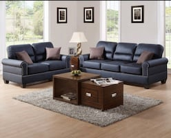 NEW BONDED LEATHER AND FABRIC SOFA & LOVESEAT AVAILABLE IN 3 COLORS
