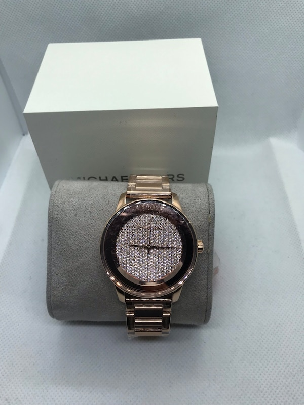 c8416cebbd19 New Michael Kors Kinley Pave Crystal Dial Rose Gold Women's 42mm MK6210  Watch
