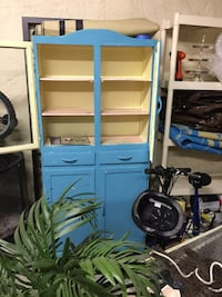 blue and white wooden cabinet