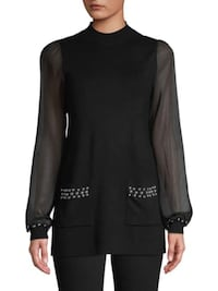 Studs Mesh Sleeve Knit Top Sweater L  Burnaby