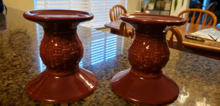 Longaberger Woven Traditions Pillar Candle Holders 0283d525-fbef-4e80-8fee-1a27af78f726