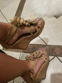 pair of brown leather open-toe cork-wedge sandals Jacksonville, 32244