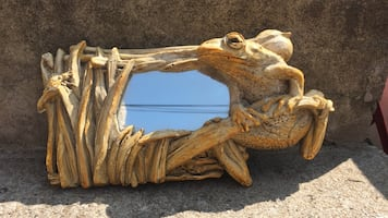 Brown carving of frog on grass themed framed  mirror
