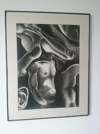 Framed figure art, 24x36 inches