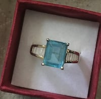 14K over SOLID Sterling Silver Ring! 3 TCW Natural Swiss Topaz with .50 TCW Lab Diamonds! Sz 9! $50 OBO Syracuse, 13208