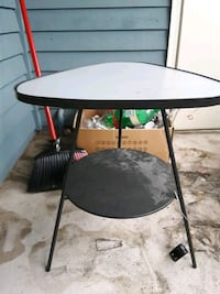 Small Glass and Metal End Table