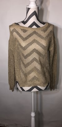 Gold knit lightweight sweater with button back Cherry Valley, 61016