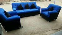 blue suede 3-seat sofa and two sofa chairs Bengaluru, 560045