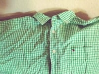 green and white plaid button-up shirt 2053 mi