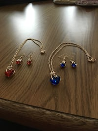 Matching necklace and earrings blue or red you pick! NEW Fairview Heights, 62208