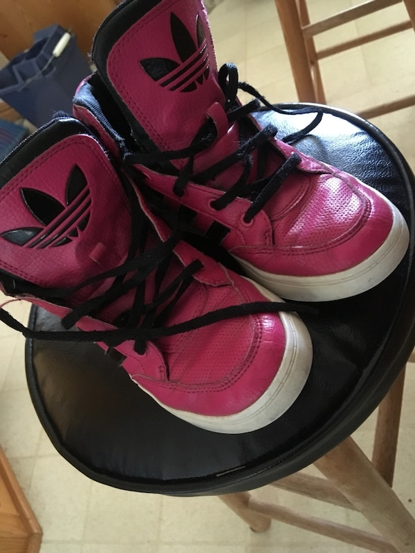800be0533fd9 Used pair of pink-and-black Adidas high-top sneakers for sale in West ...