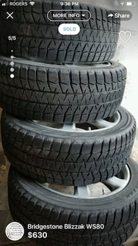 Blizzak Ws80  Winter tires and rims Mississauga, L4X 2V5