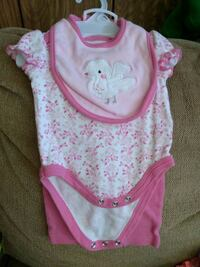 baby's pink and white 3 piece onesie Clear Brook, 22624