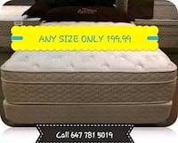 SINGLE DOUBLE OR QUEEN PILLOW TOP MATTRESS ONLY 199.00 NO TAX Toronto