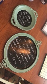 Wall hanging - 2 painted trays with chalkboard paint in center. $5 for both Nokesville, 20181