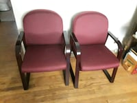 two purple padded black metal armchairs St. Louis, 63128