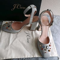 J crew pumps silver glitter with jewels block heels Vancouver, 98683