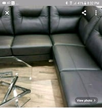 Brand New Black Genuine Leather Sectional  Surrey, V3W 5T3