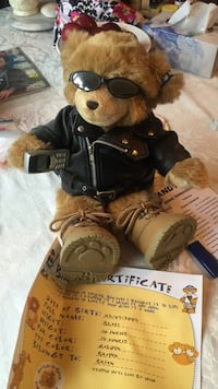 Build a bear rider with certificate brown bear plush toy