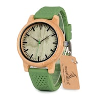 BOBO BIRD WOODEN SILICONE BELT RETRO DESIGN WATCH