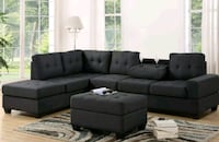 tufted black suede sectional sofa Houston, 77042