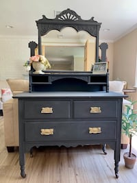 Antique Vintage Solid Wood French Dresser with Mirror Annandale, 22003