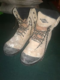 pair of brown and black hiking boots