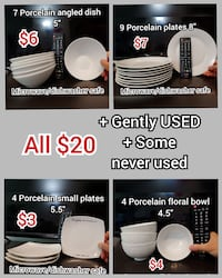 Assorted Porcelain Dinnerware Rockville
